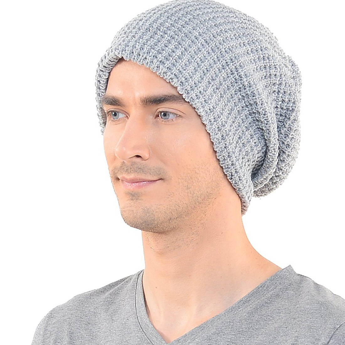 Mens Slouchy Long Beanie Knit Cap for Summer Winter