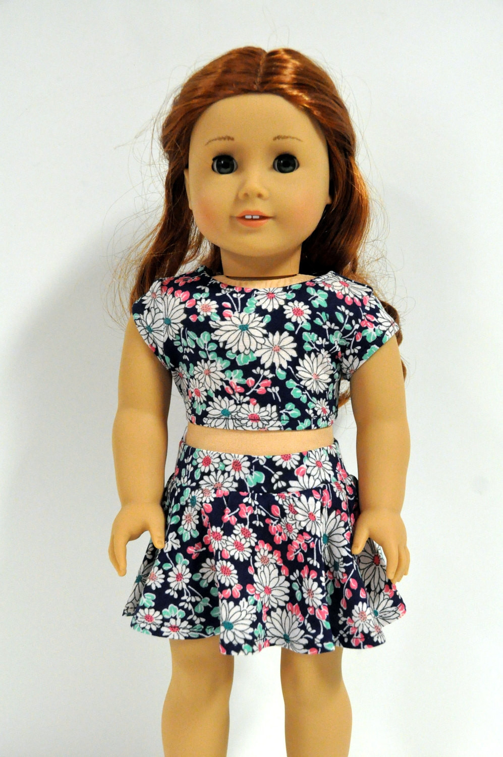 Best Of Navy Teal and Coral Floral Skater Skirt and Crop top 18 Inch American Girl Doll Skirts Of Incredible 50 Ideas American Girl Doll Skirts