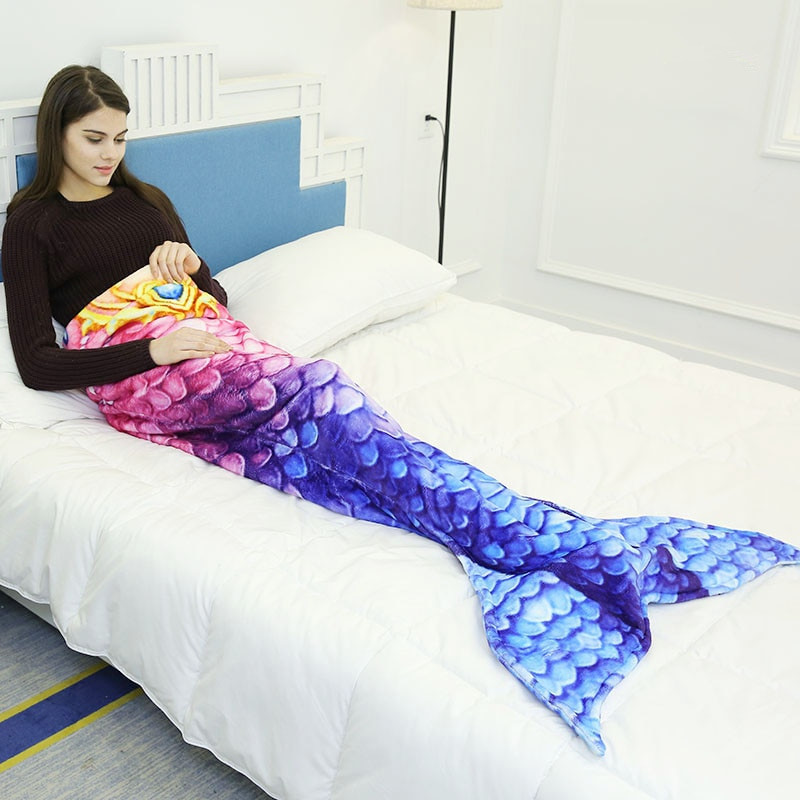 Newest Thick Wool Scale Mermaid Tail Blanket Parent child