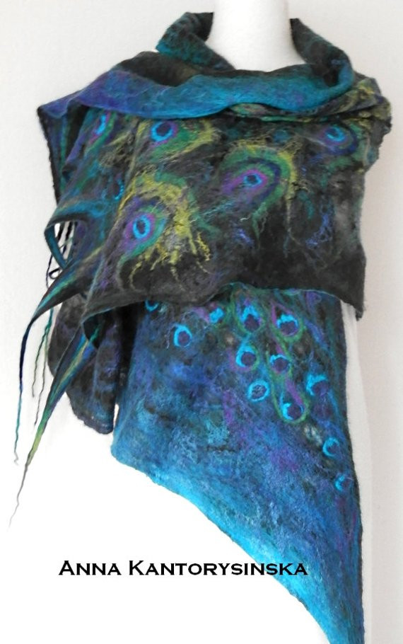 Best Of Nuno Felted Silk Scarf Peacock Shawl Wrap Green Scarf Art to Peacock Shawl Of Charming 44 Pictures Peacock Shawl