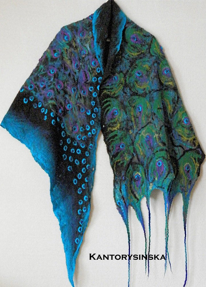 Best Of Nuno Felted Silk Scarf Peacock Verde Shawl Wrap Green Scarf Peacock Shawl Of Charming 44 Pictures Peacock Shawl