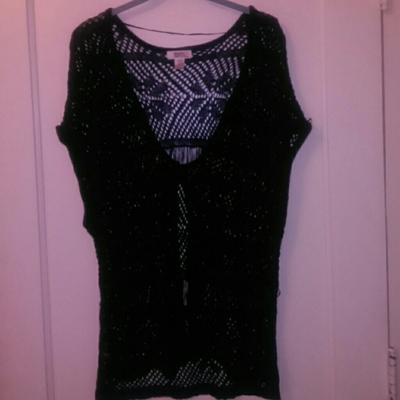 off Route 66 Tops Black crochet top button vest from