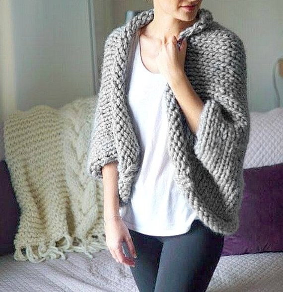 Oversized Chunky Knit Cardigan Pattern Cashmere Sweater