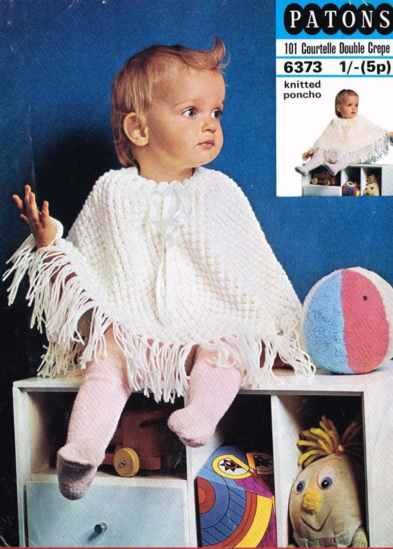 patons 6373 baby poncho vintage knitting