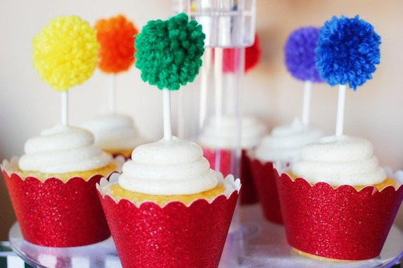 Rainbow Yarn Pom Pom Cupcake Toppers Cupcake Toppers St