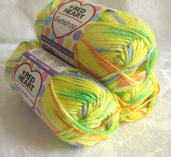 Red Heart Gumdrop yarn LEMON yellow worsted weight by
