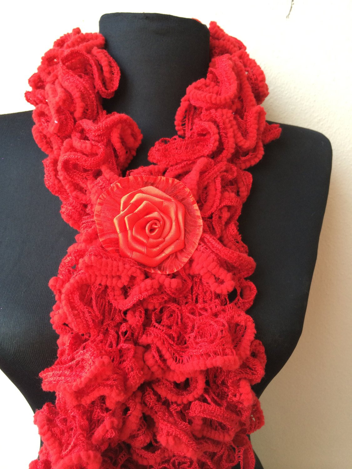 Best Of Red Ruffle Hand Knit Scarf Girls and Woman Knit Wrap Scarlet Knit Ruffle Scarf Of Marvelous 50 Pics Knit Ruffle Scarf