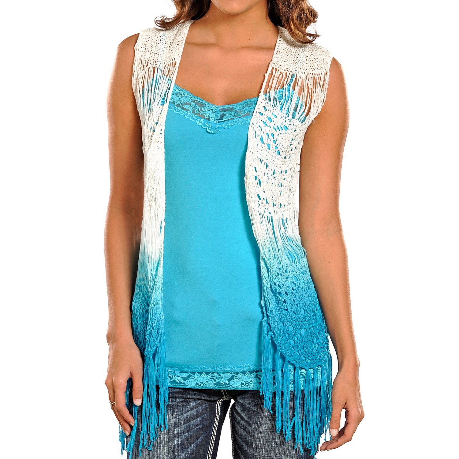 Best Of Rock & Roll Cowgirl Dip Dyed Crochet Vest for Women Womens Crochet Vest Of Amazing 47 Pics Womens Crochet Vest