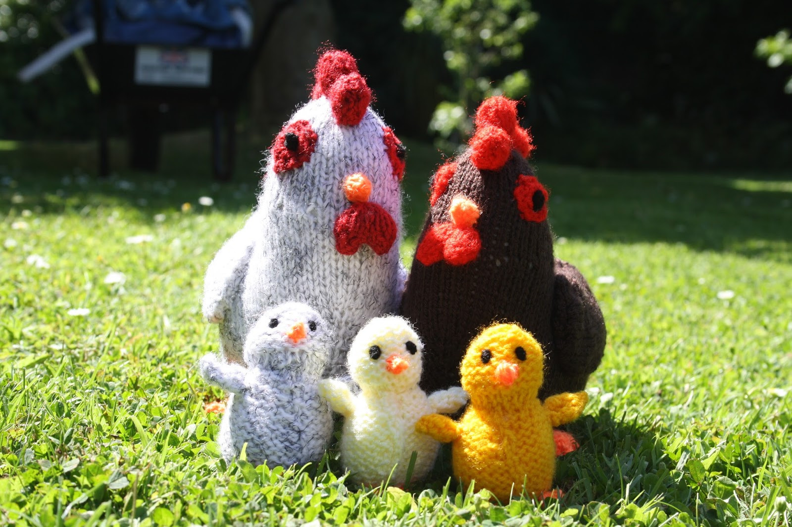 knitted chicken family