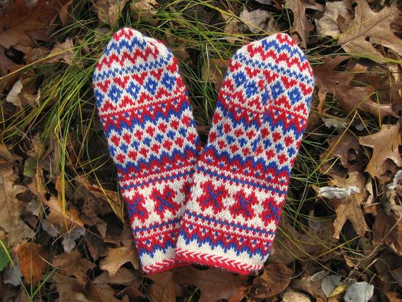 Sami Pattern Mittens knit in white red and blue wool yarn