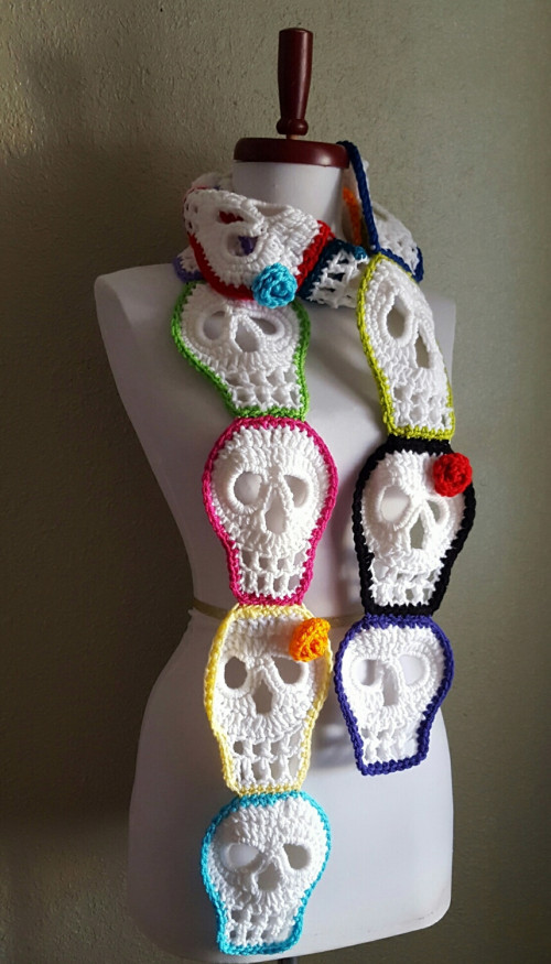 Best Of Sugar Skull Scarf Day Of the Dead Crochet Art Scarf Made Crochet Sugar Skull Of Incredible 47 Pictures Crochet Sugar Skull