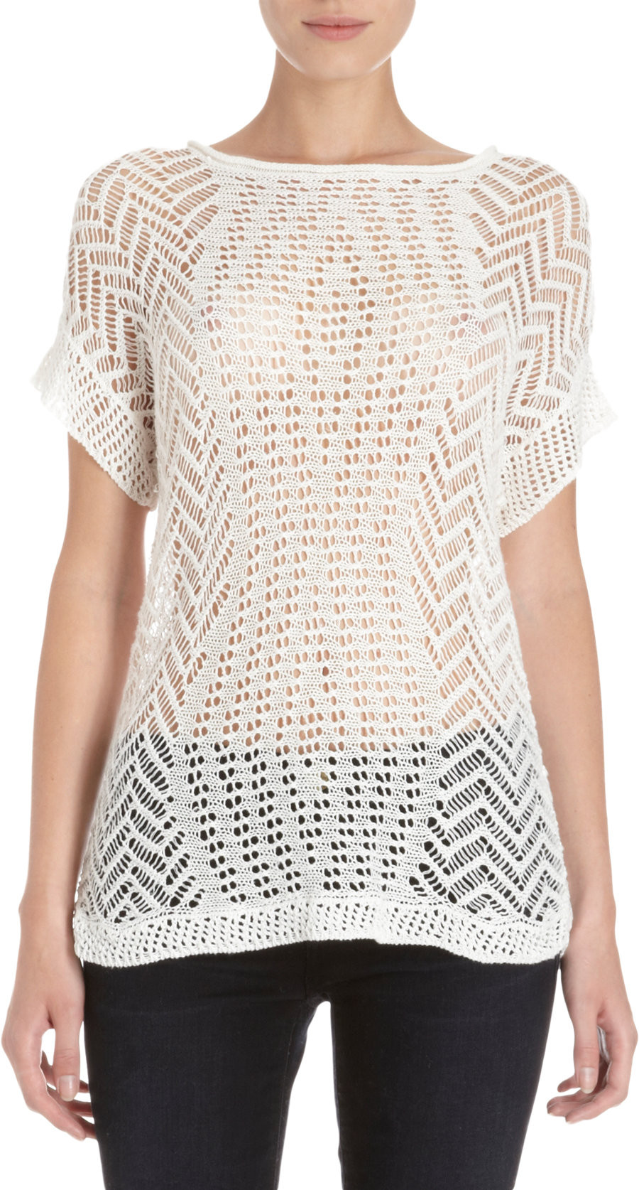 Thakoon Open Crochet Knit Short Sleeve Sweater in White