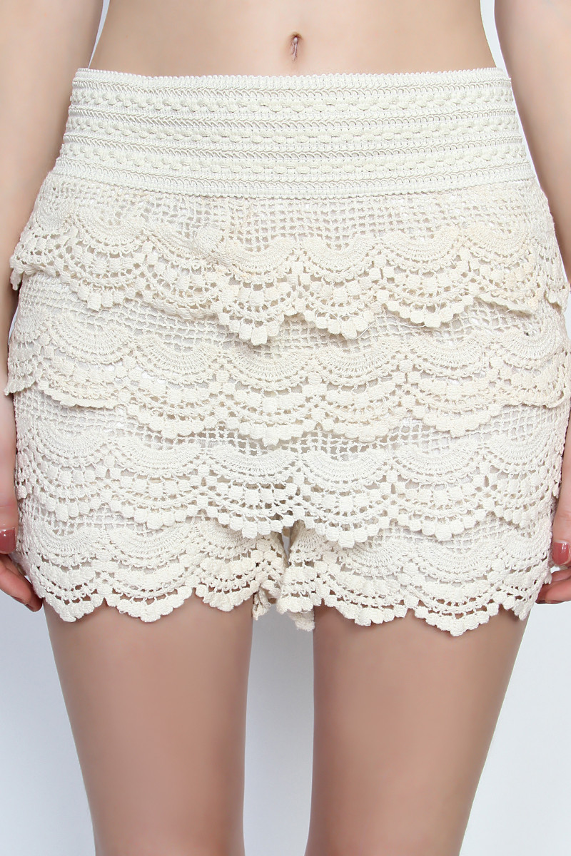 Best Of themogan Lovely Tiered Crochet Lace Stretch Waist Skort Shorts Crochet Lace Shorts Of Unique 47 Photos Crochet Lace Shorts