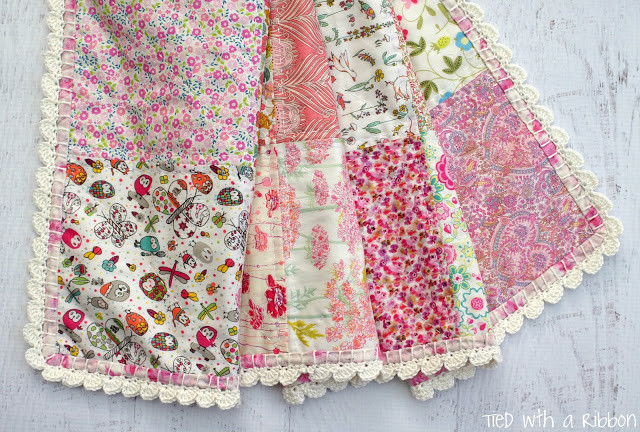 Tied with a Ribbon Liberty and Crochet Blanket for a