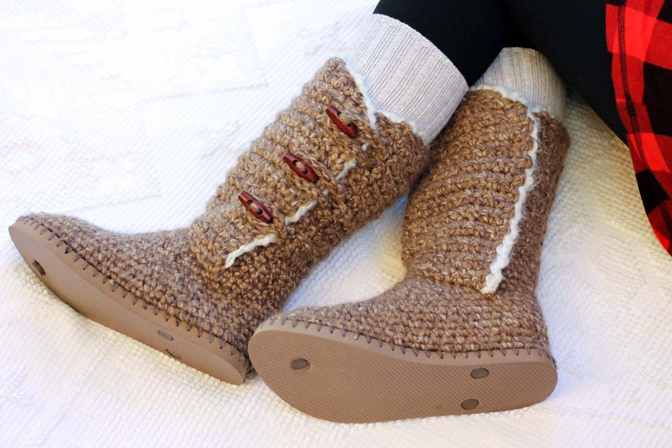 UGG Style Crochet Boots With Flip Flop Soles Free