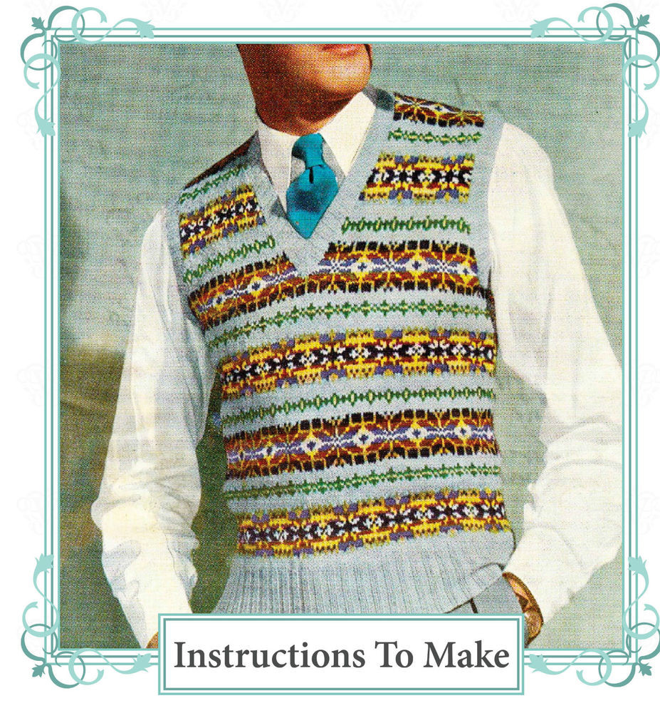Best Of Vintage 1940s Fair isle Mens Pullover to Knit Knitting Fair isle Knitting Patterns Of Lovely 46 Ideas Fair isle Knitting Patterns