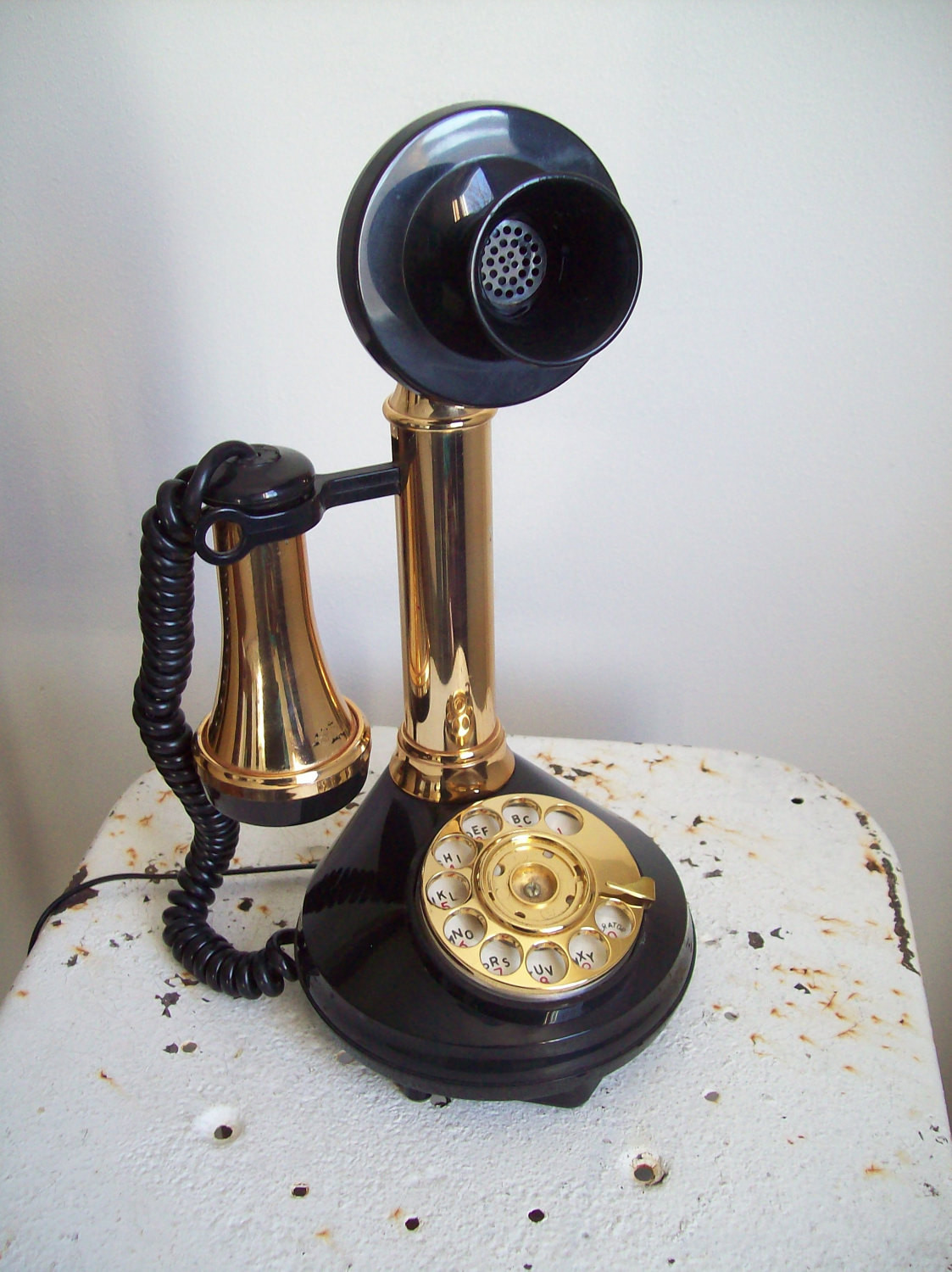 Vintage Deco Tel candlestick telephone rotary 1970s black and