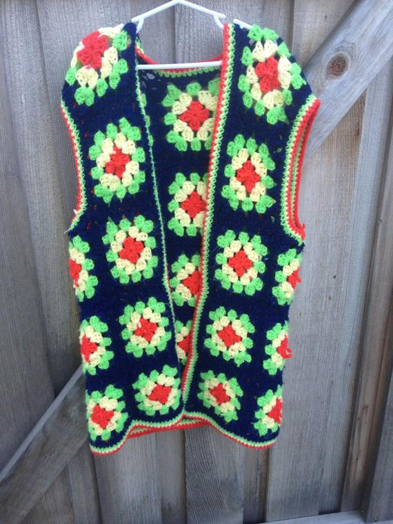 VINTAGE Women s Granny Square Vest by lishyloo on Etsy