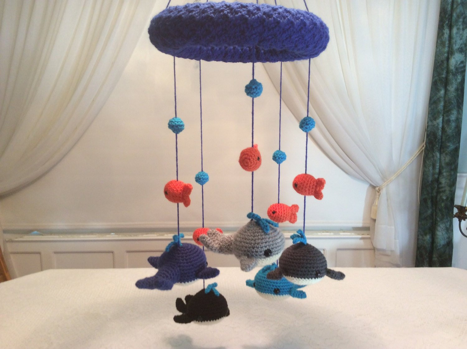 Whale and goldfish baby mobile tutorial crochet pattern