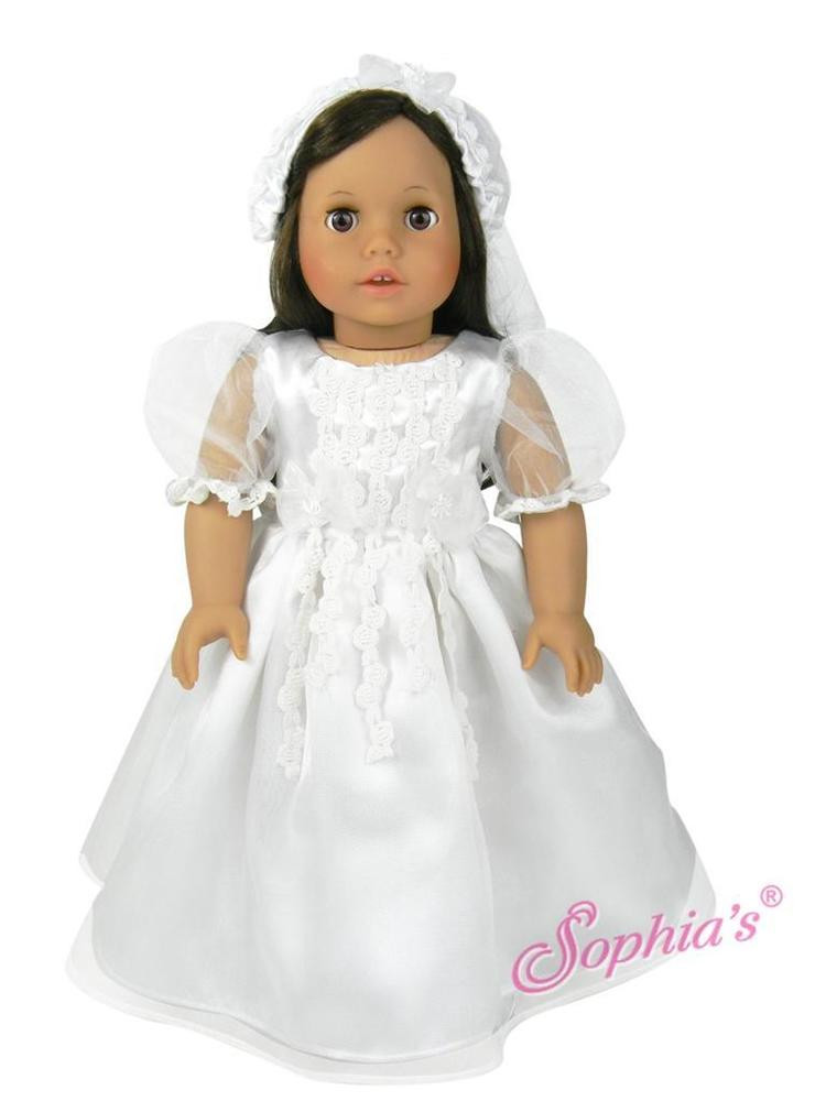 Best Of White Munion Wedding Dress formal Spring Church Fits 18 American Girl Doll Wedding Dress Of Beautiful American Girl Doll Wedding Dress Satin and Silver American Girl Doll Wedding Dress