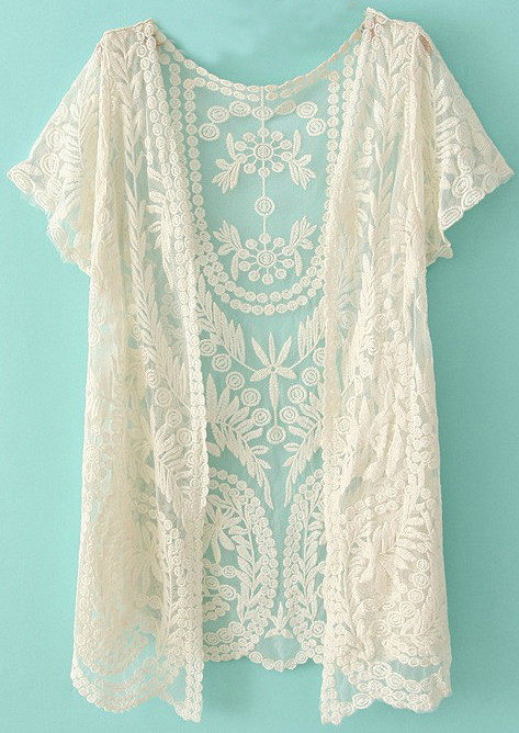 White Short Sleeve Crochet Net Lace Cardigan Sheinside