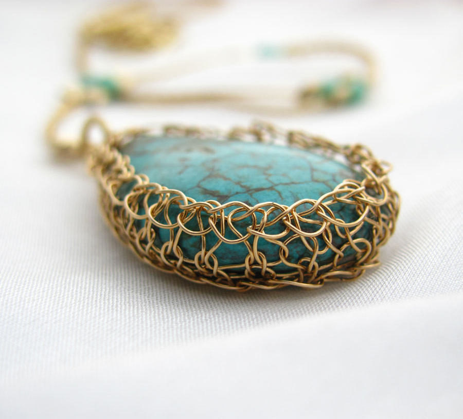 Best Of Wire Crochet Necklace Turquoise and Gold Filled Stone Wire Crochet Of Wonderful 40 Photos Wire Crochet