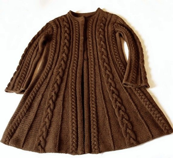 Women S Long Cable Knit Sweater Jacket Bronze Cardigan