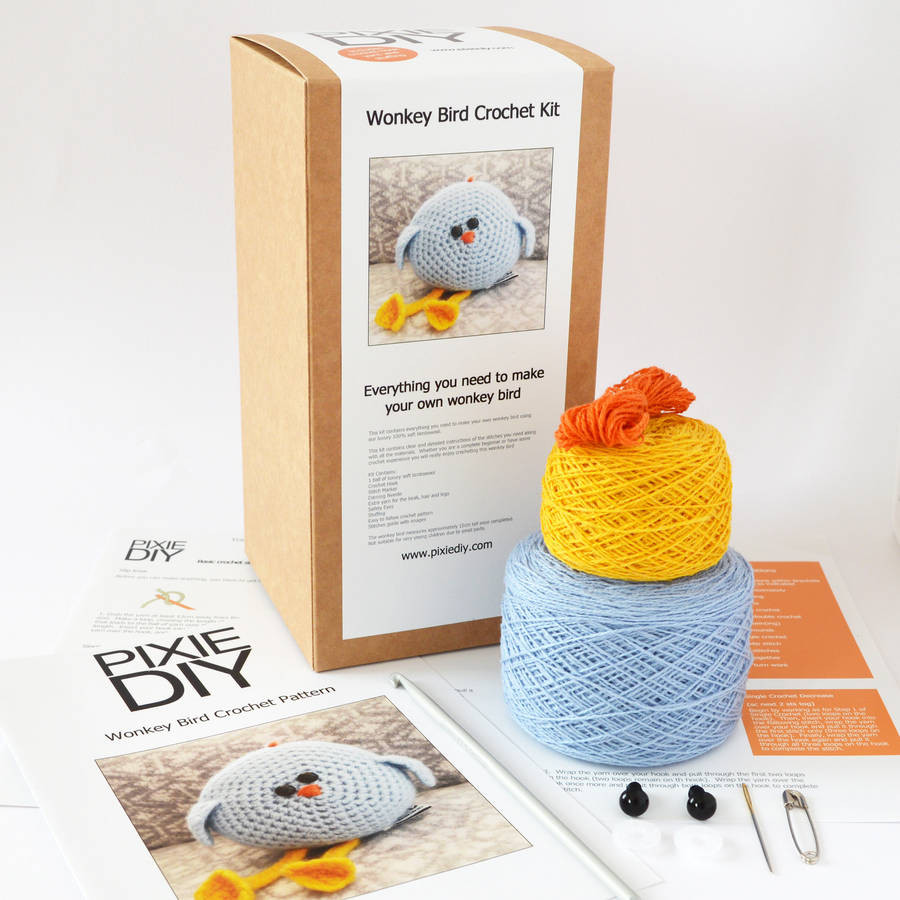 wonkey bird learn to crochet kit by warm pixie diy