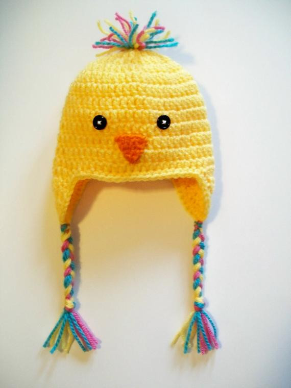Best Of Yellow Chick Baby Hat Beanie Crochet Ear Flaps Braids Baby Chicken Hat Of Lovely Chicken Hat Crochet Pattern Baby Chicken Hat