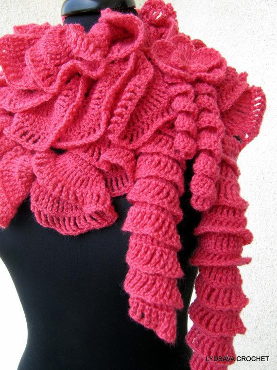 You have to see Crochet Ruffle Scarf by Lyubava Crochet