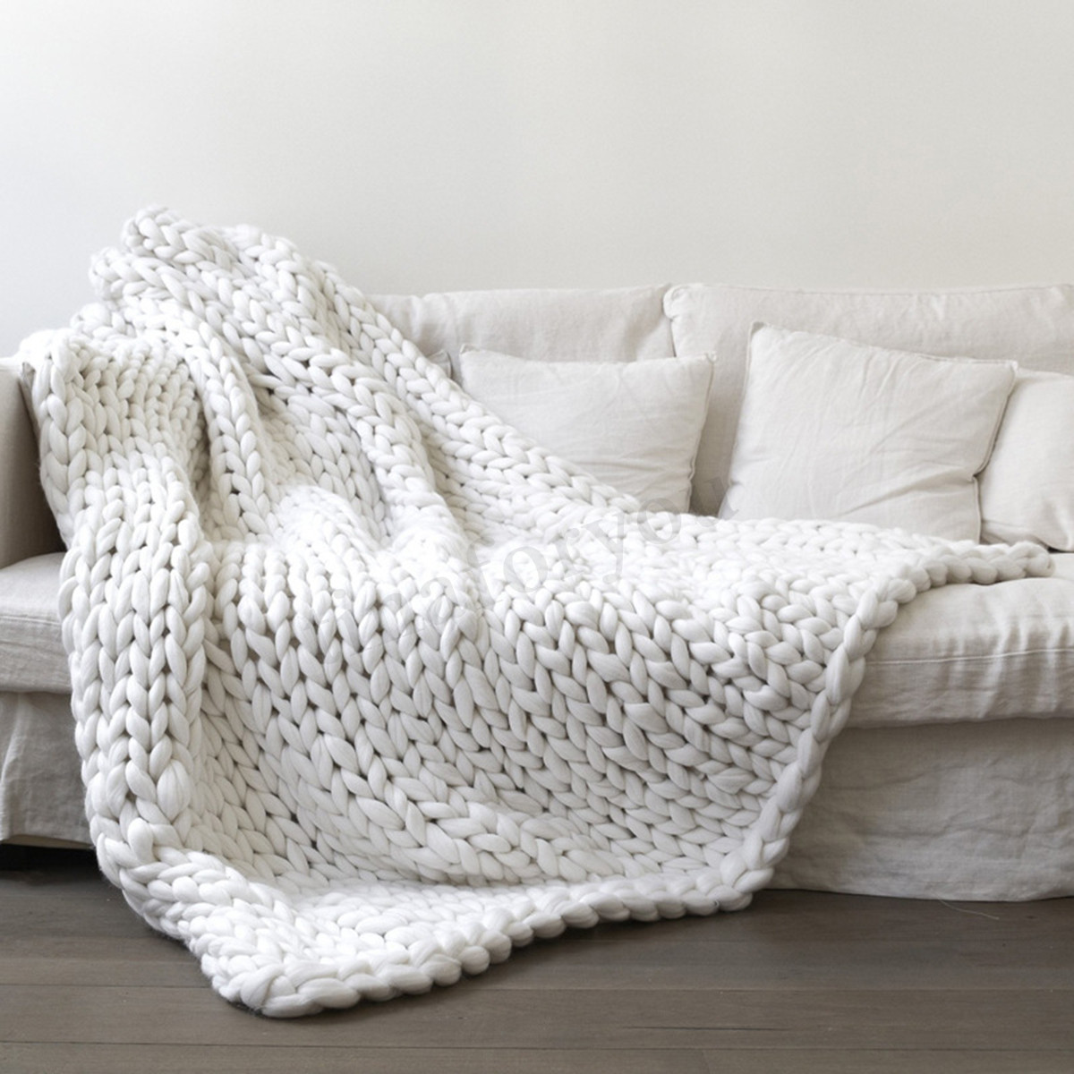 Soft Warm Handmade Chunky Knit Blanket Thick Yarn