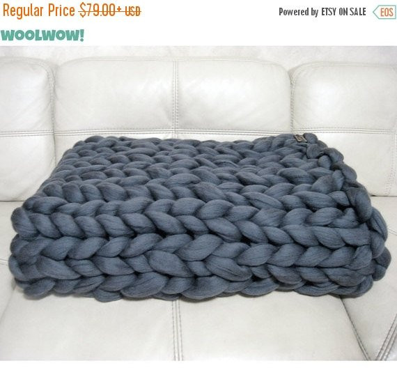 Super Chunky Blanket Giant Knitted Merino Wool Throw by