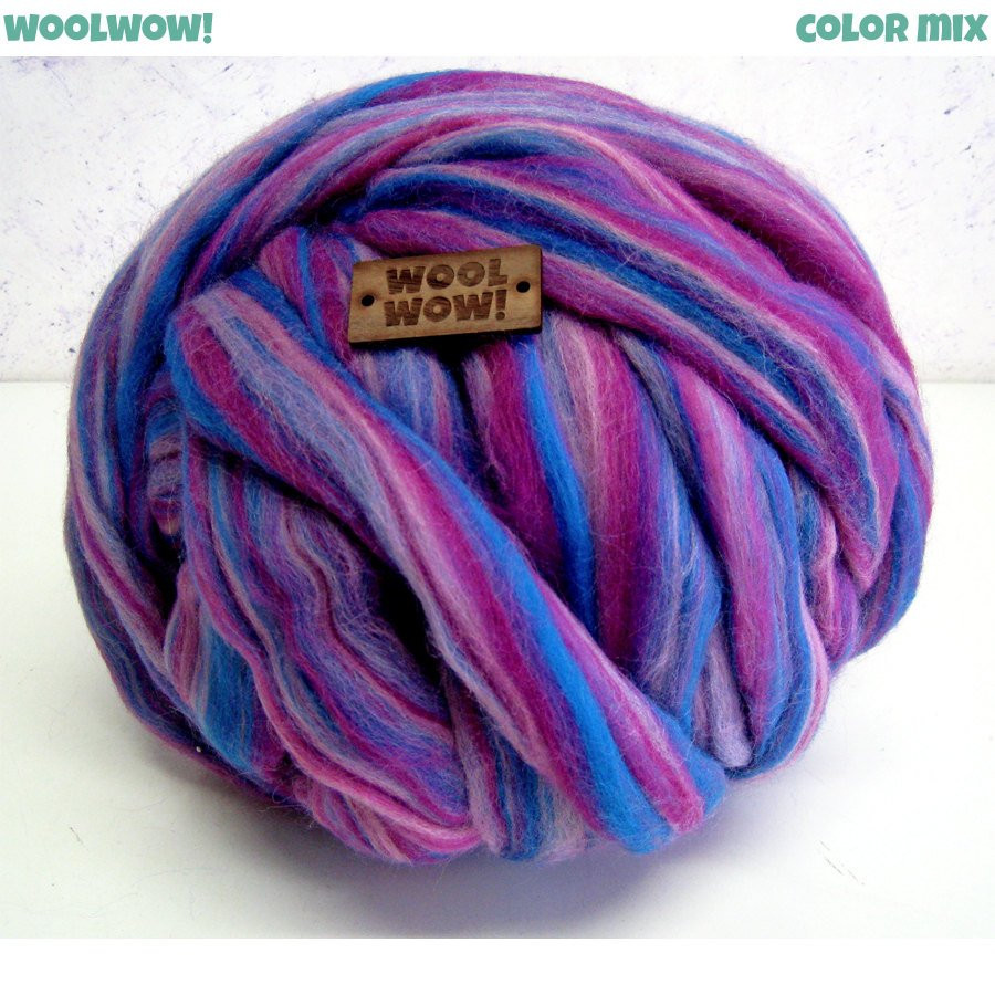 Big skein of mixed color yarn Chunky blended yarn Super