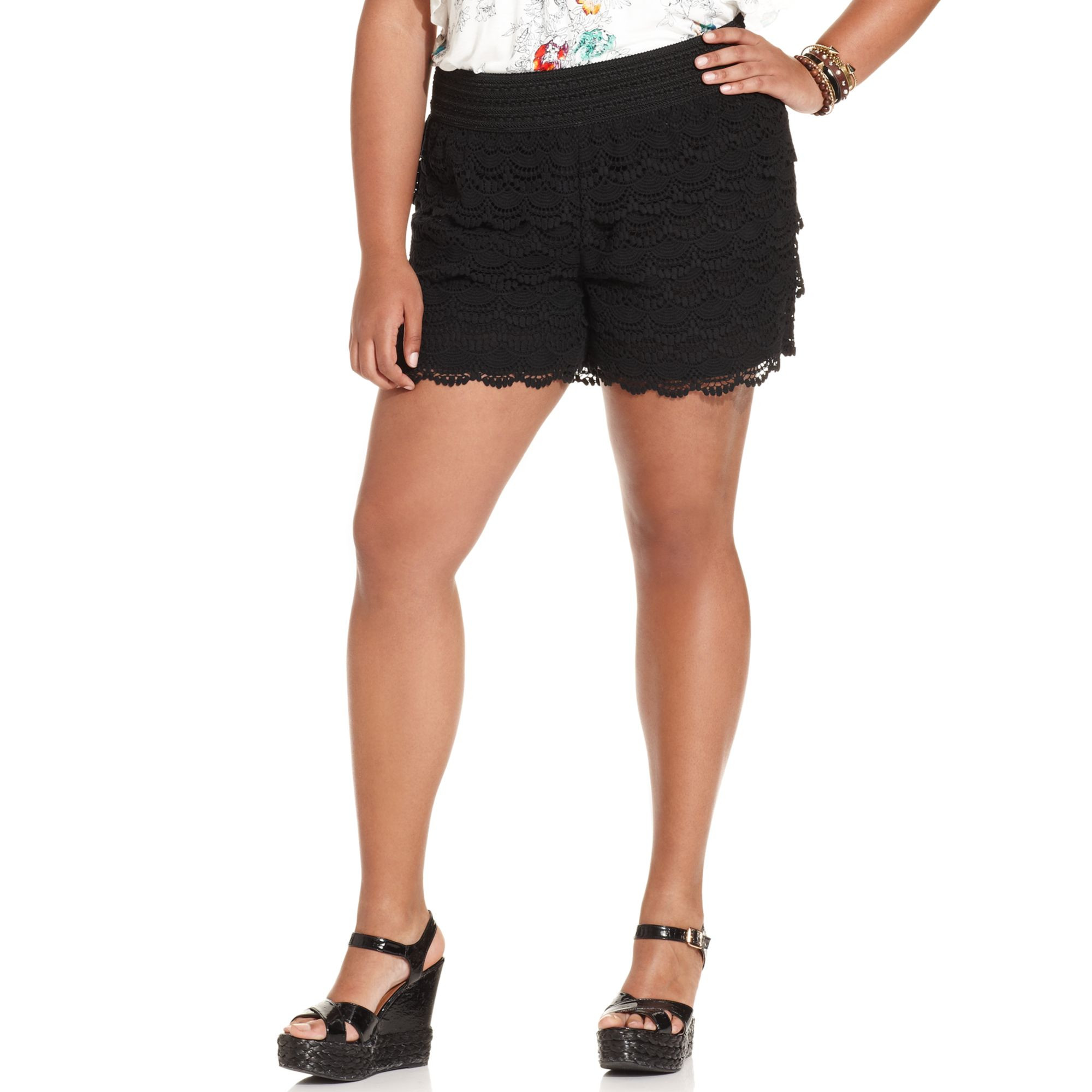 Black Crochet Shorts Beautiful Lyst American Rag Plus Size Crochet Shorts In Black Of Superb 42 Pictures Black Crochet Shorts