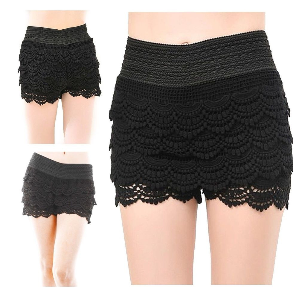 Black Crochet Shorts Elegant Hot Fashion Womens Lady Korean Sweet Crochet Tiered Black Of Superb 42 Pictures Black Crochet Shorts