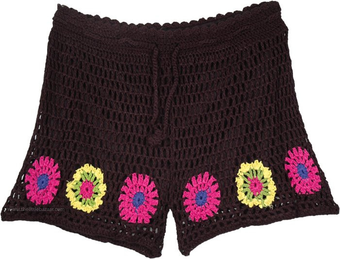 Black Crochet Shorts Luxury Black Shorts In Crochet with Flower Pattern Of Superb 42 Pictures Black Crochet Shorts