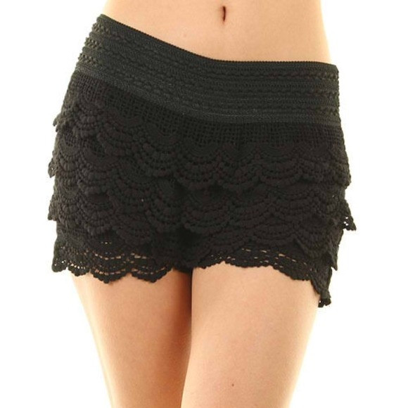 Black Crochet Shorts New Off Dresses & Skirts Crochet Tiered Lace Short Skirt Of Superb 42 Pictures Black Crochet Shorts