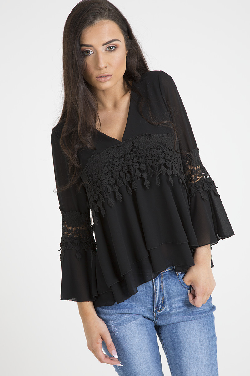 Black Crochet top Unique Black Crochet Detail Bell Sleeve Layered top Fiona Of Amazing 42 Photos Black Crochet top