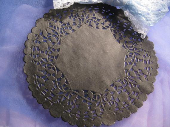 8 Inch Round Black PAPER LACE Doilies Craft Cards Goth