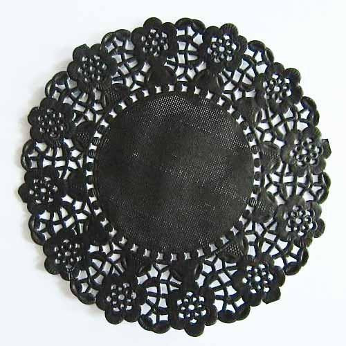 Pack of 20 Black Lace Embossed Paper Doilies 11 4cm
