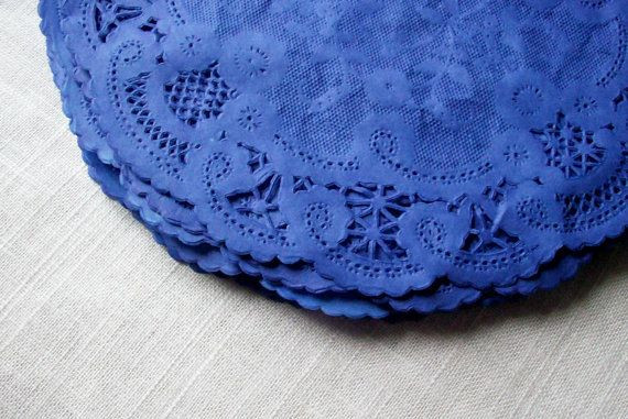 12 Fancy French Lace BLUE VIOLET Colored Paper by