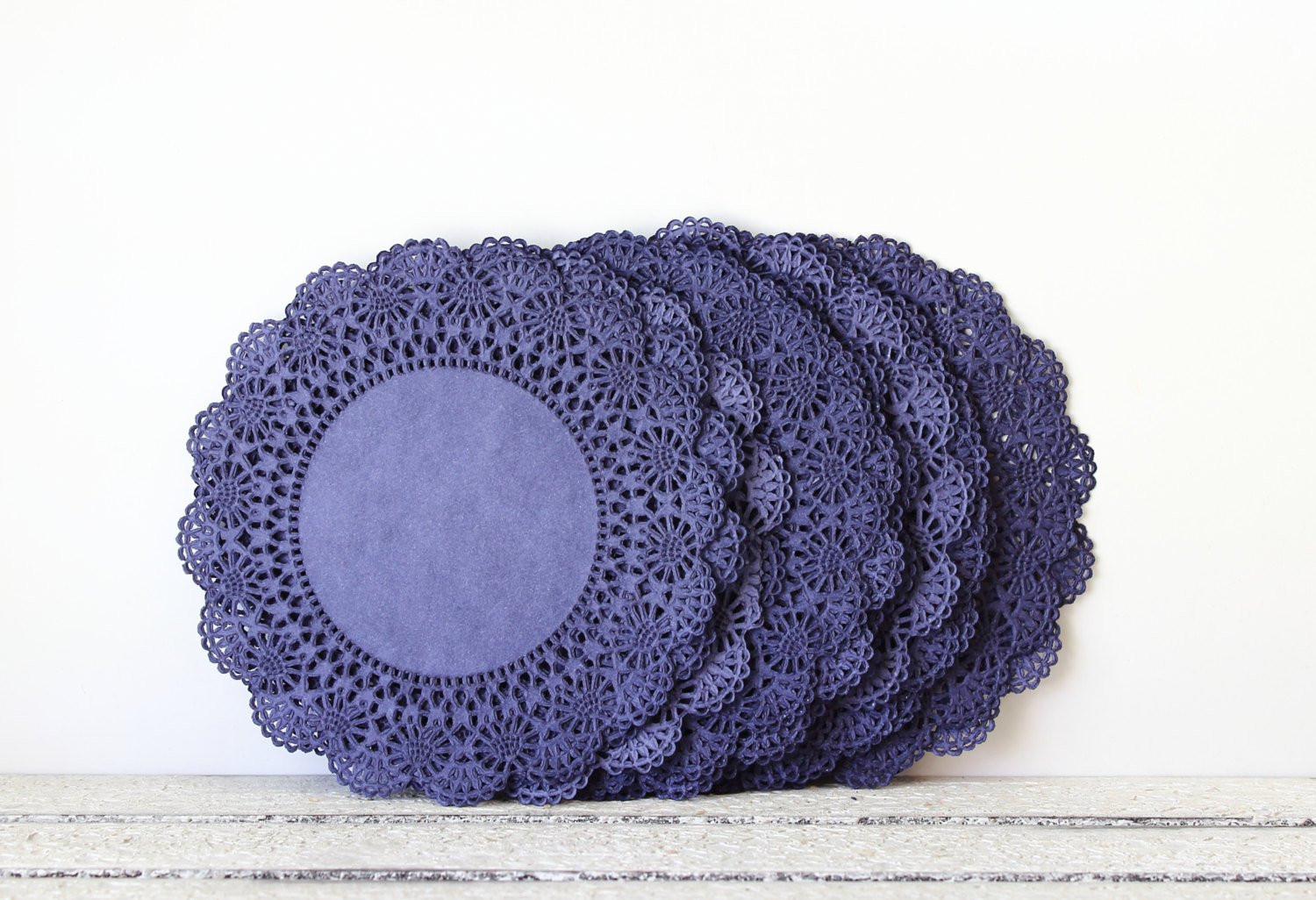 Paper Doilies Navy Blue 8 Inch French Lace by MailboxHappiness