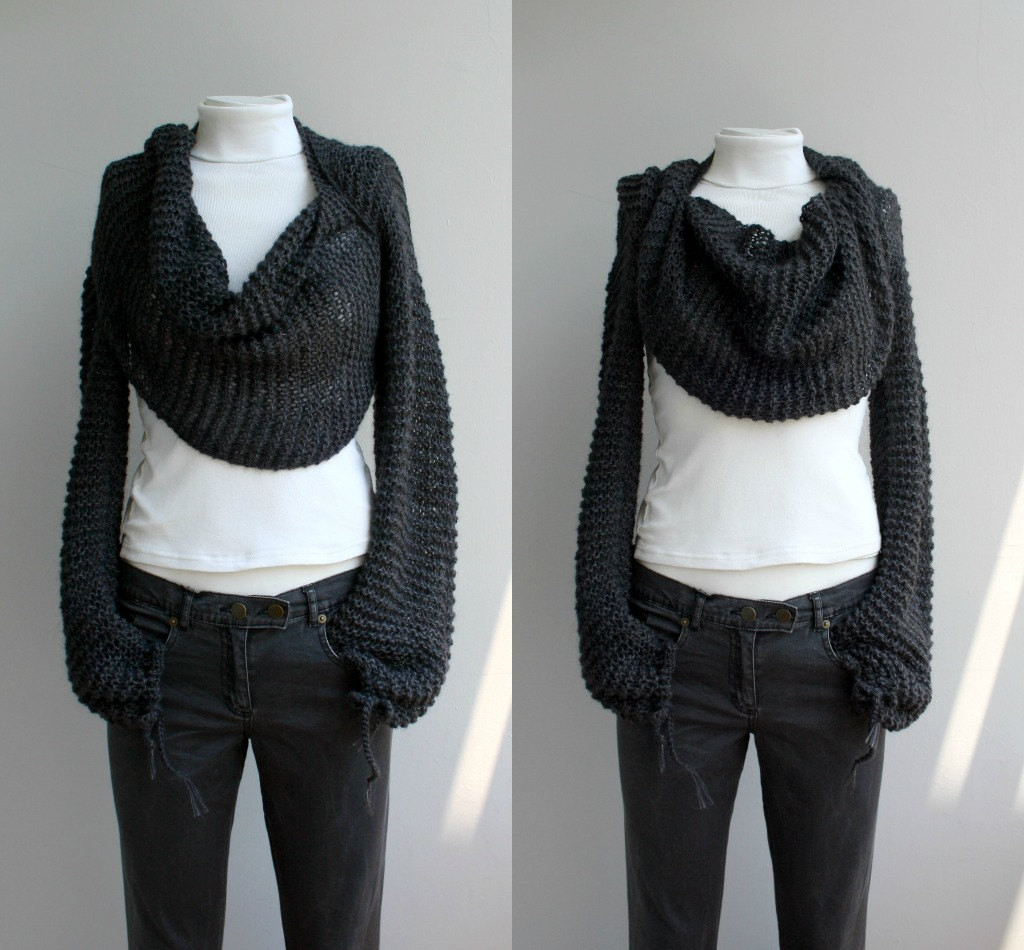 crochet scarf with sleeves pattern