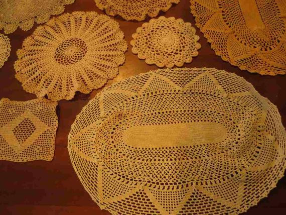 Bulk Lot of 18 Vintage Doilies Ecru Beige from
