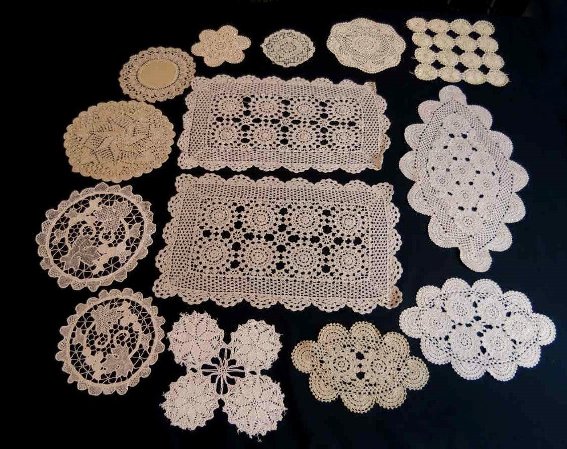 Bulk Lot of Fourteen Doilies Ecru Beige