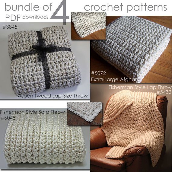 Super Quick & Bulky Afghan Blanket Crochet PATTERNS Bundle