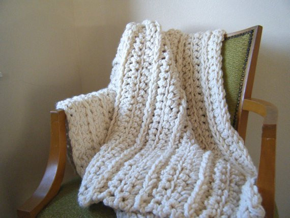 Bulky Crochet Blanket Unique Diy Crochet Pattern Super Chunky Throw Ivory Cream Of Amazing 50 Ideas Bulky Crochet Blanket