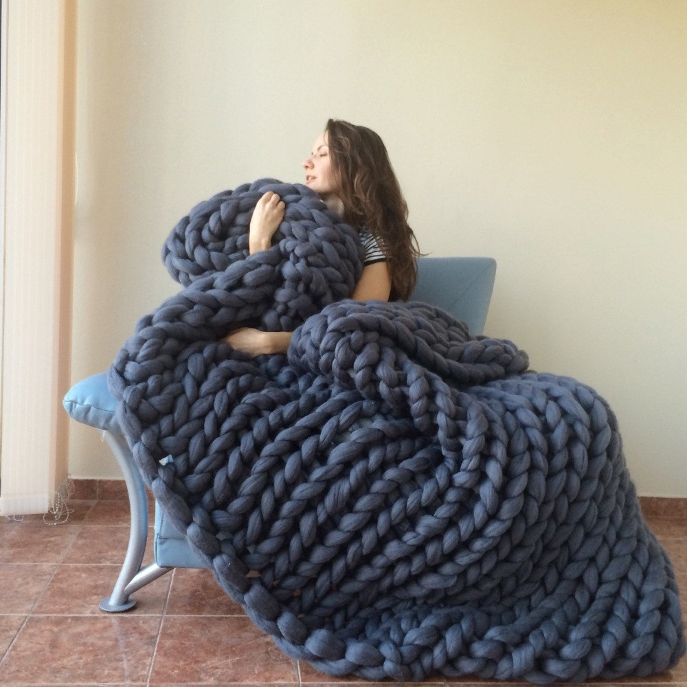 Bulky Knit Blanket Awesome Aliexpress Buy Chunky Blanket Giant Yarn Wool Of Top 45 Images Bulky Knit Blanket