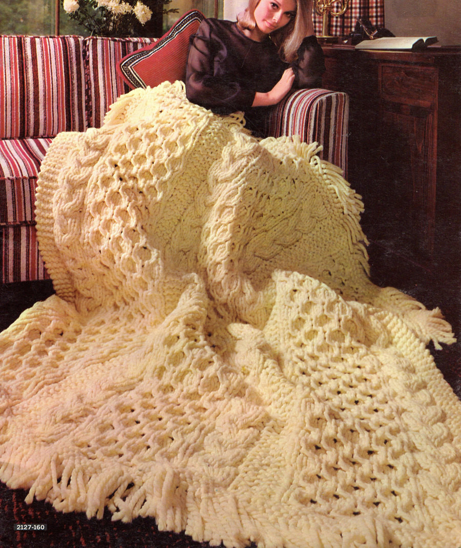 Afghan Knitting Pattern Bulky Aran Afghan Knitting Pattern