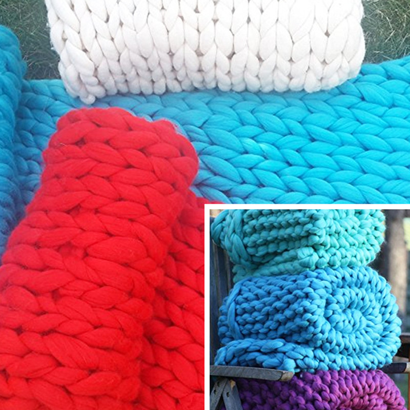 Bulky Yarn Blanket Awesome 60x60cm Chunky Crochet Knitted Blanket Warm Knit Thick Of Lovely 50 Pictures Bulky Yarn Blanket